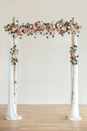 Flower Arch Décor with Sheer Drape (Set of 3) - Garden Dusty Rose