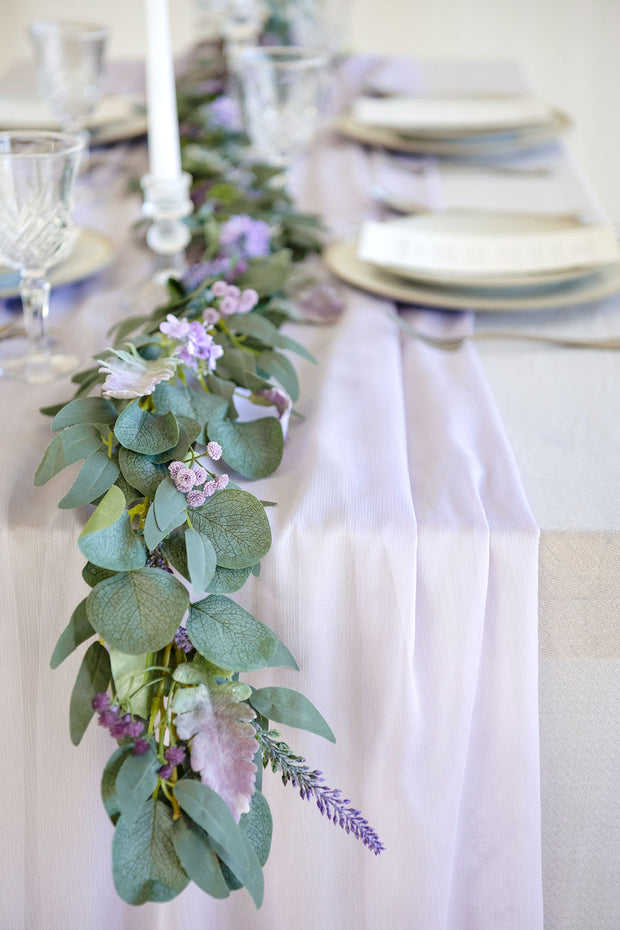 Lavender Eucalyptus and Willow Leaf Garland 6FT - Lilac