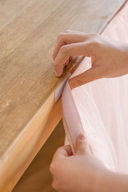 Extra Long Tulle Table Skirt - Shimmer Blush