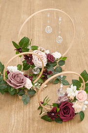 Wood Floral Centerpieces (Set of 3) - Dusty Rose