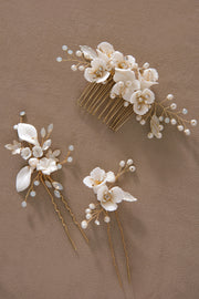 Elegant Polymer Clay Flower Hair Comb & Pins Set for Bride (Set of 3)