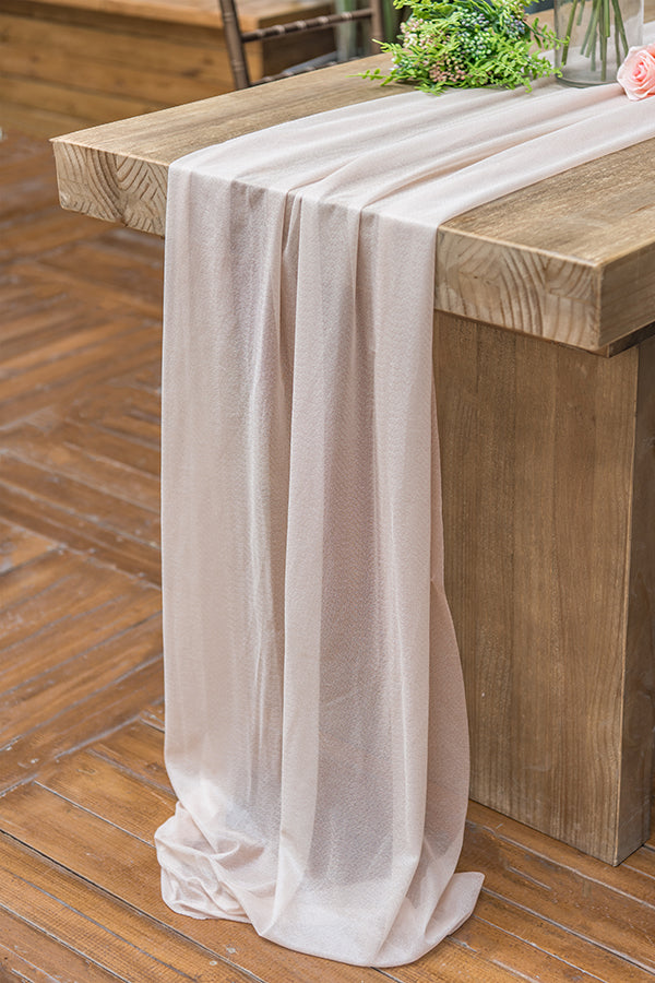 32 x 120 Inch Romantic Sheer Table Runner - 4 Colors - Ling's moment