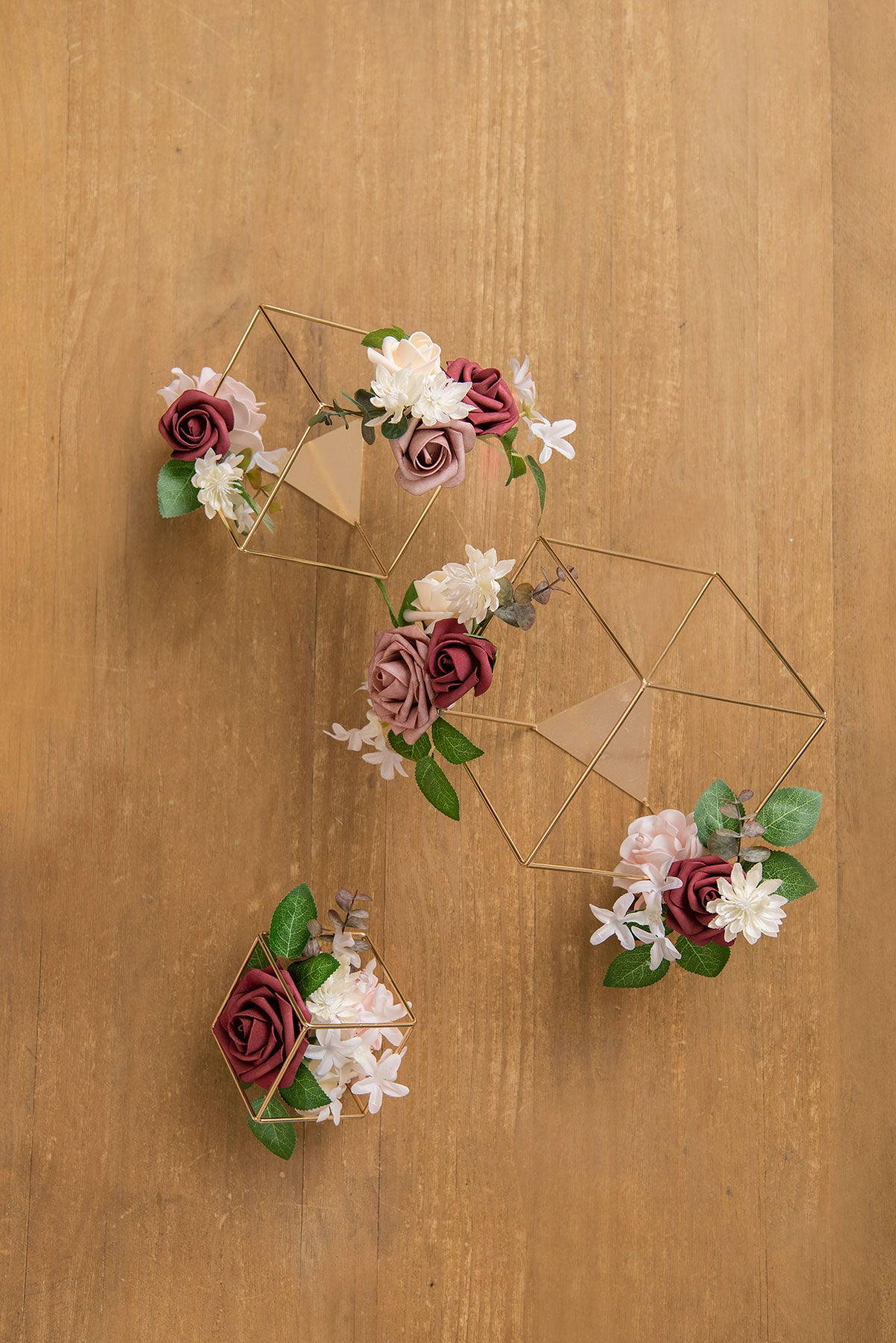 Gold Himmeli Geometric Floral Centerpieces (Set of 3) - Burgundy