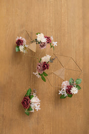 Gold Himmeli Geometric Floral Centerpieces (Set of 3) - Dusty Rose