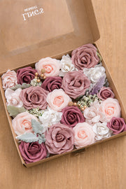 Dusty Rose & Burgundy Flower Combo Box Set - 14 Style