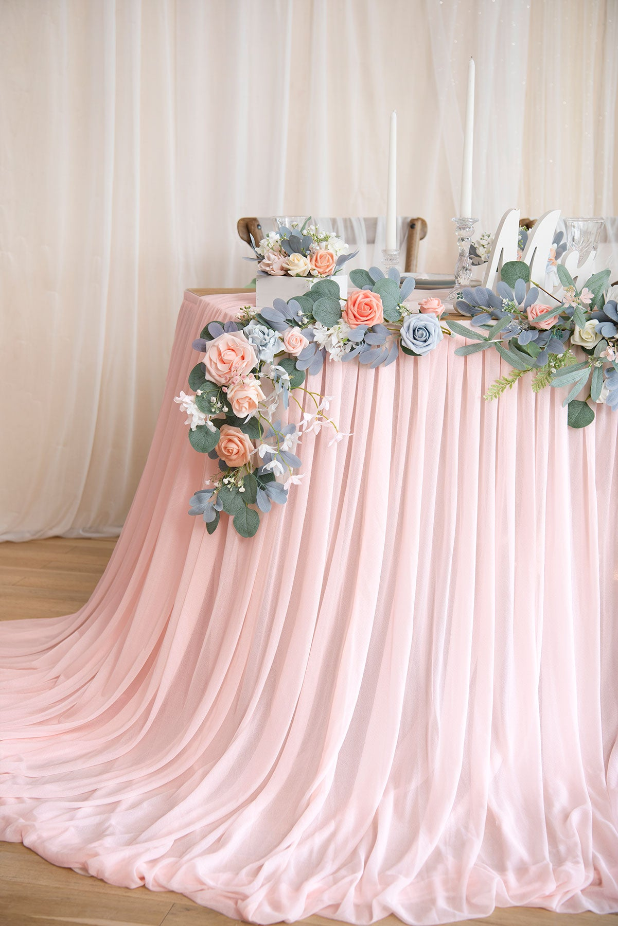 Extra Long Sheer Pooling Table Skirt - 5 Colors
