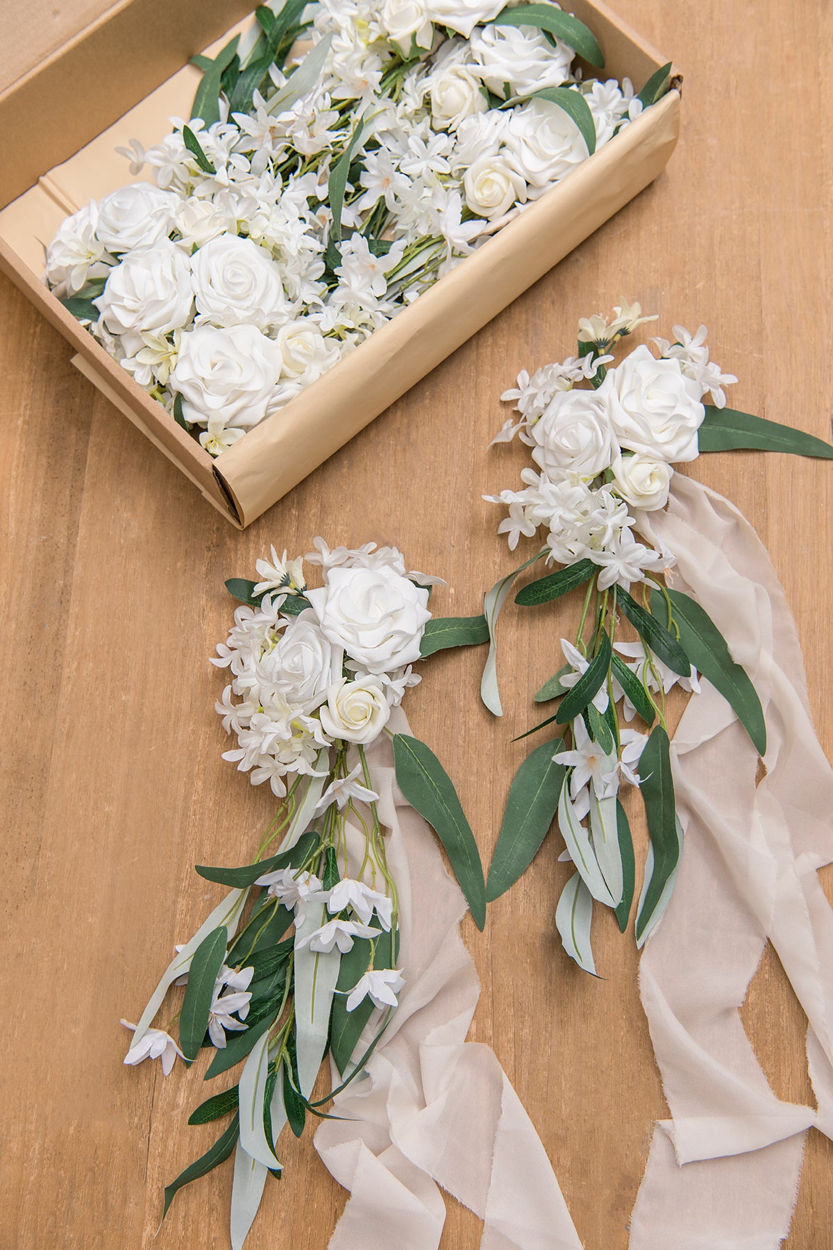 Italian Ruscus Aisle Decoration Pew Flowers (Set of 8) - White