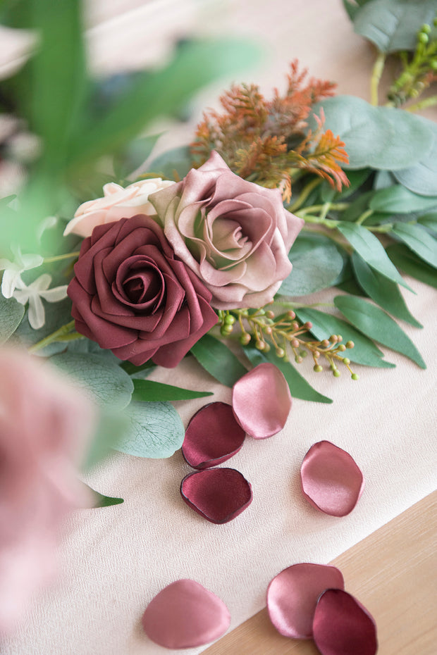 Silk Rose Petals 200/400pcs - Burgundy & Blush
