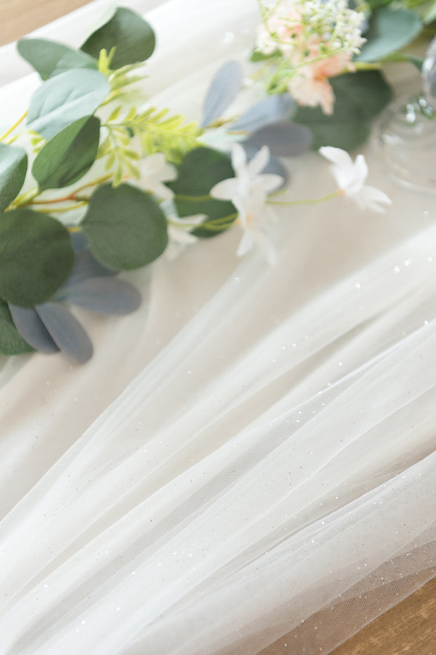 "Extra Long Tulle Table Runner 30""w x 16FT - 4 Colors"