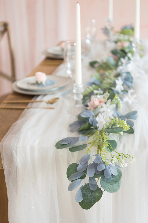 30 x 195 Inch Tulle Table Runner with Light String (16FT, Shimmer White )
