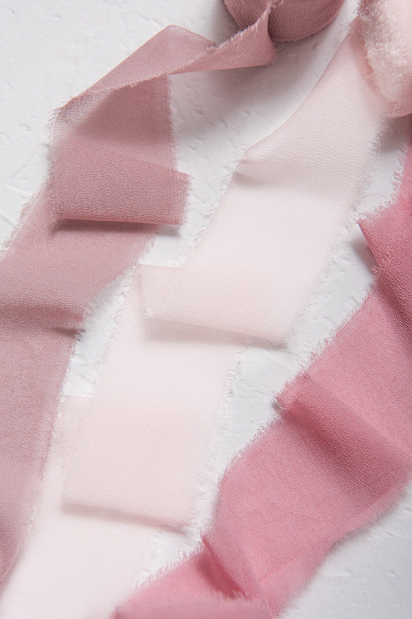 "1.5""w x 6 Yards Frayed Edge Chiffon Ribbon (Set of 3) - Dusty Rose"