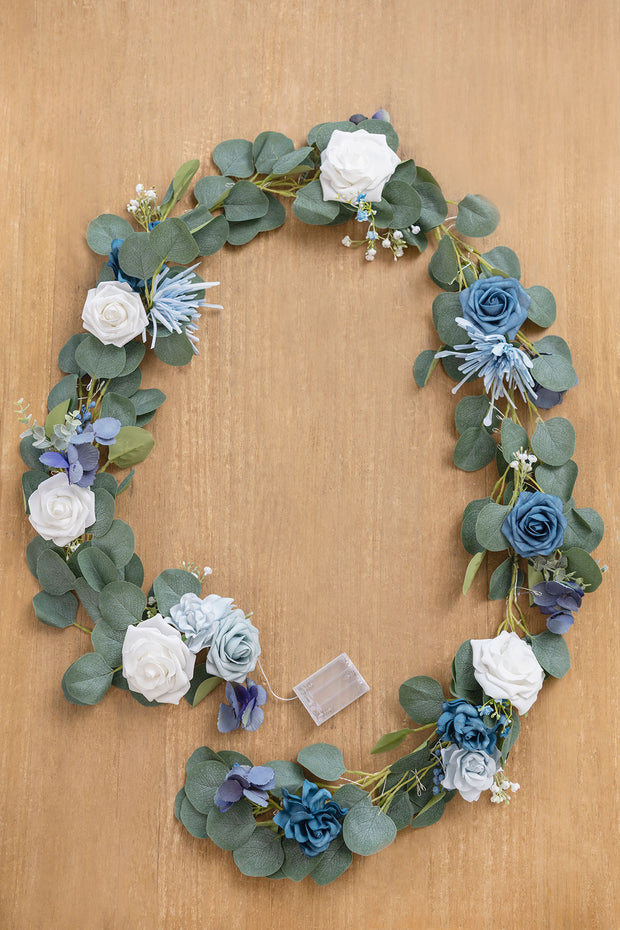 Eucalyptus Flower Garland with Fairy Lights 6.5ft - Dusty Blue | Clearance Sale