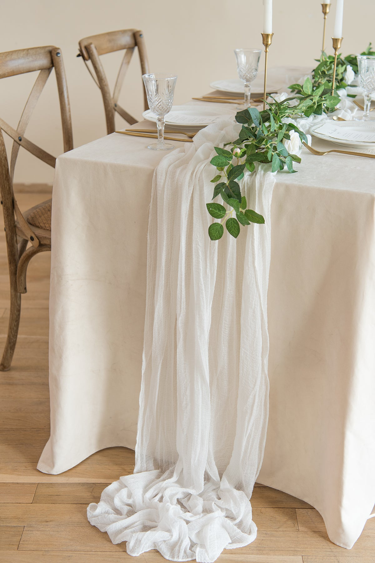 "Rustic Gauze Cheesecloth Table Runner 30""w x 10FT - 7 colors"