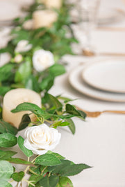 Rose Leaf Greenery Garland with Mini Roses 6.5FT (Set of 2) - Ivory