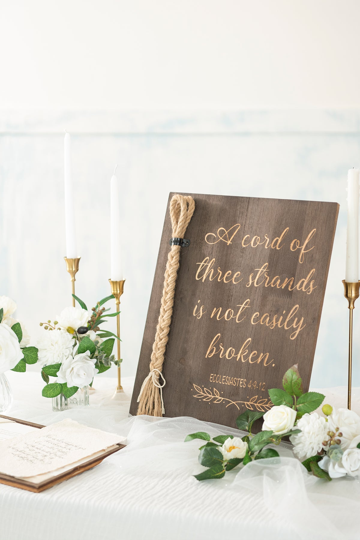 Strand of Three Cords Wedding Ceremony Sign - A Cord of Three Strands is not Easily Broken