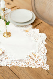 Embroidery Flax Burlap Table Runner - White
