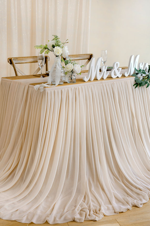 Extra Long Pooling Table Skirt - White & Nude