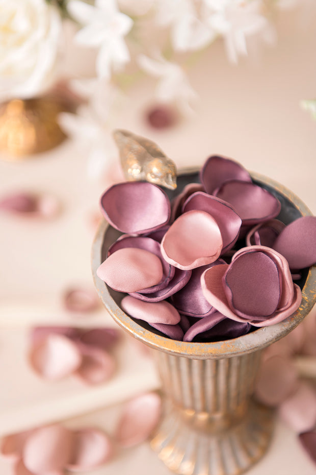 Silk Rose Petals 200/400pcs - Dusty Rose & Plum Purple