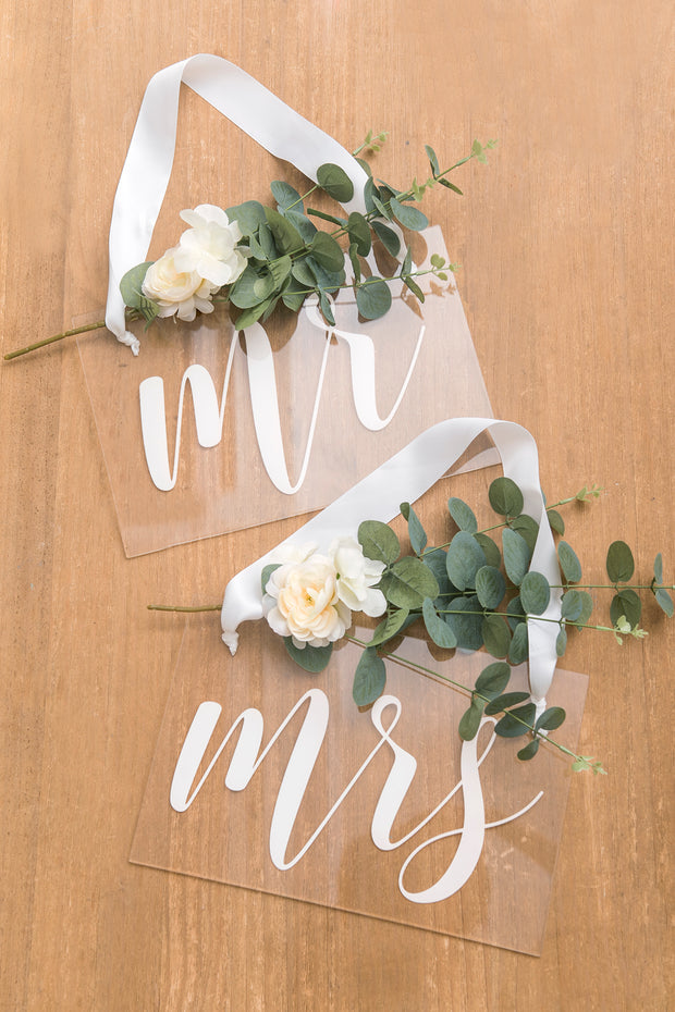 Acrylic Chair Signs - Mr&Mrs