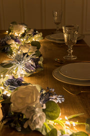 Eucalyptus Flower Runner with led Light 6.5ft - Blue - Ling's moment