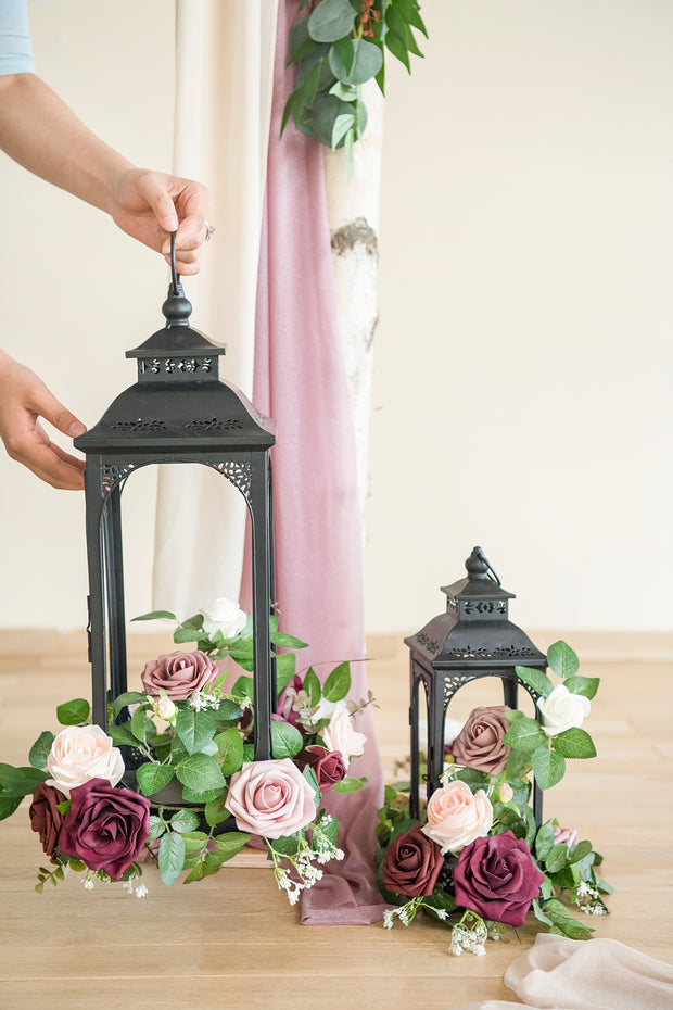 Lantern Floral Arrangements (Set of 6) - Marsala & Dusty Rose