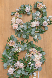 Wedding Arch FLower Garland 6.5Ft 2 Rows -  Blush