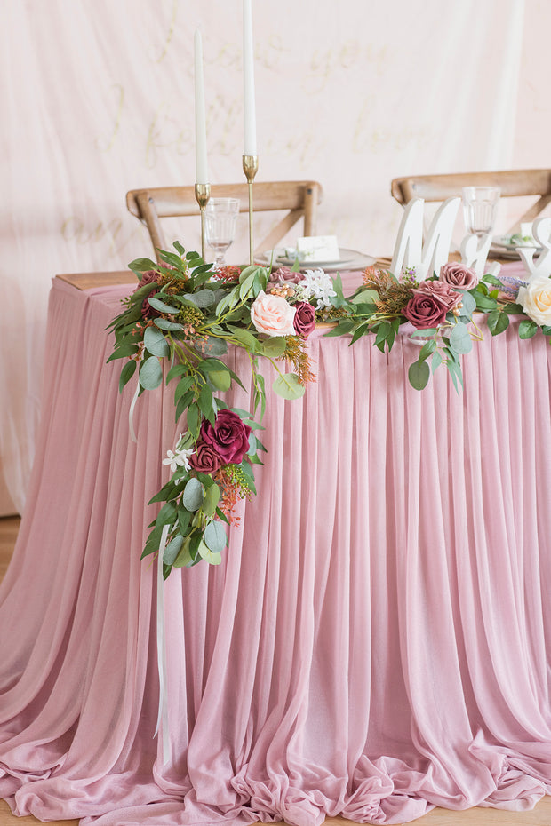 Extra Long Pooling Table Skirt - Dusty Rose & Mauve