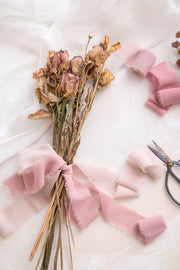 Handmade Frayed Edges Chiffon Ribbon Sample Swatch Chart -Dusty Rose