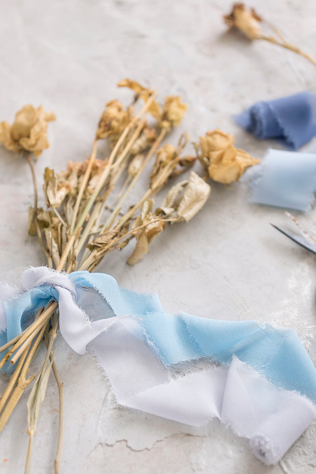 Handmade Frayed Edges Chiffon Ribbon Sample Swatch Chart - Blue
