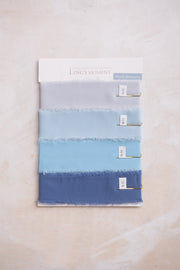 Handmade Frayed Edges Ribbon Sample Swatch Chart - Blue Shades