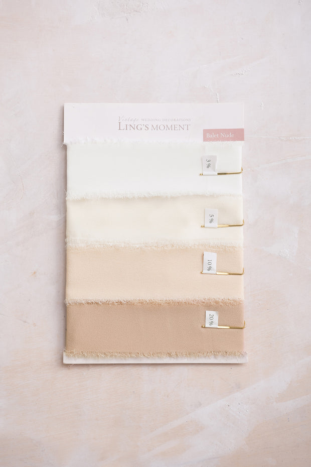Handmade Frayed Edges Chiffon Ribbon Sample Swatch Chart - Ling's moment