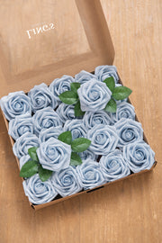 Powder Blue Foam Rose with Stem - 25pcs