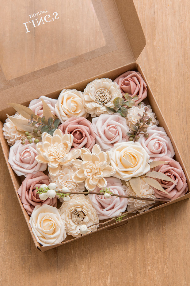 French Dusty Rose & Burgundy Flowers Box Set - 9 Colors - Ling's moment