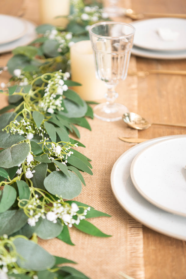 Mixed Eucalyptus and Willow Garland Accented with Baby's Breath