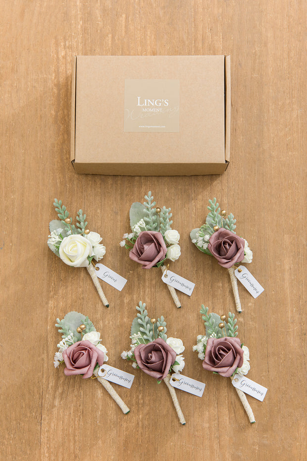 Wedding Boutonnieres (Set of 6) - Dusty Rose