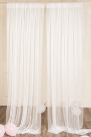 White Sheer Wedding Backdrop Curtains 10 Ft x 10 Ft - Ling's moment