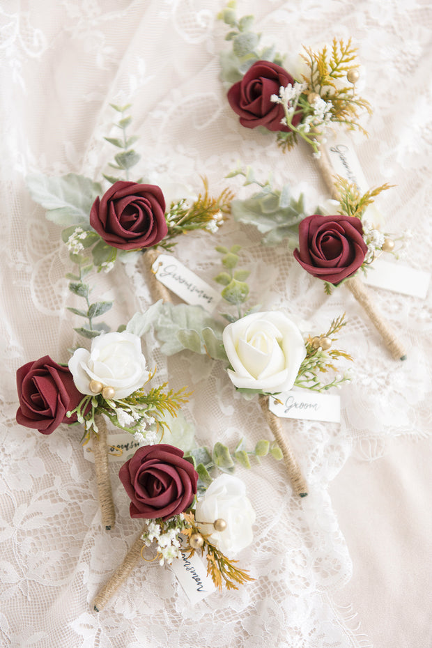 Red & Burgundy Wedding Boutonnieres (Set of 6)