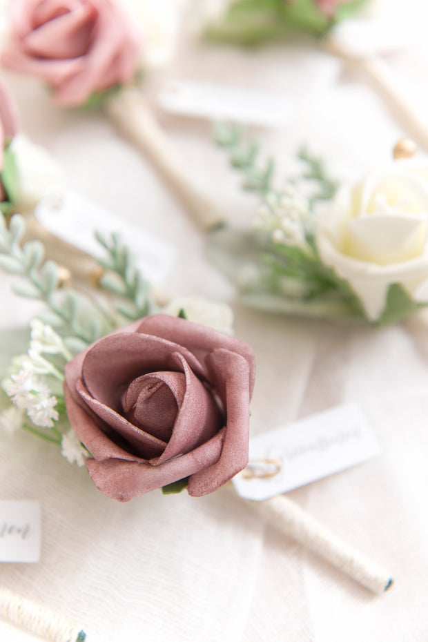 Dusty Rose Wedding Boutonnieres (Set of 6)