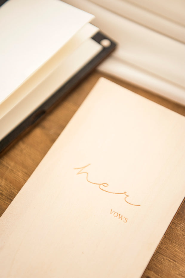 Handmade Wooden Wedding Vows Book His and Her - Ling's moment