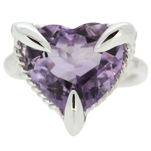 Amethyst Silver Love Heart Ring
