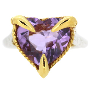Amethyst Love Heart Ring