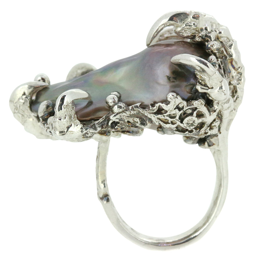 Black Baroque Pearl Silver Ring