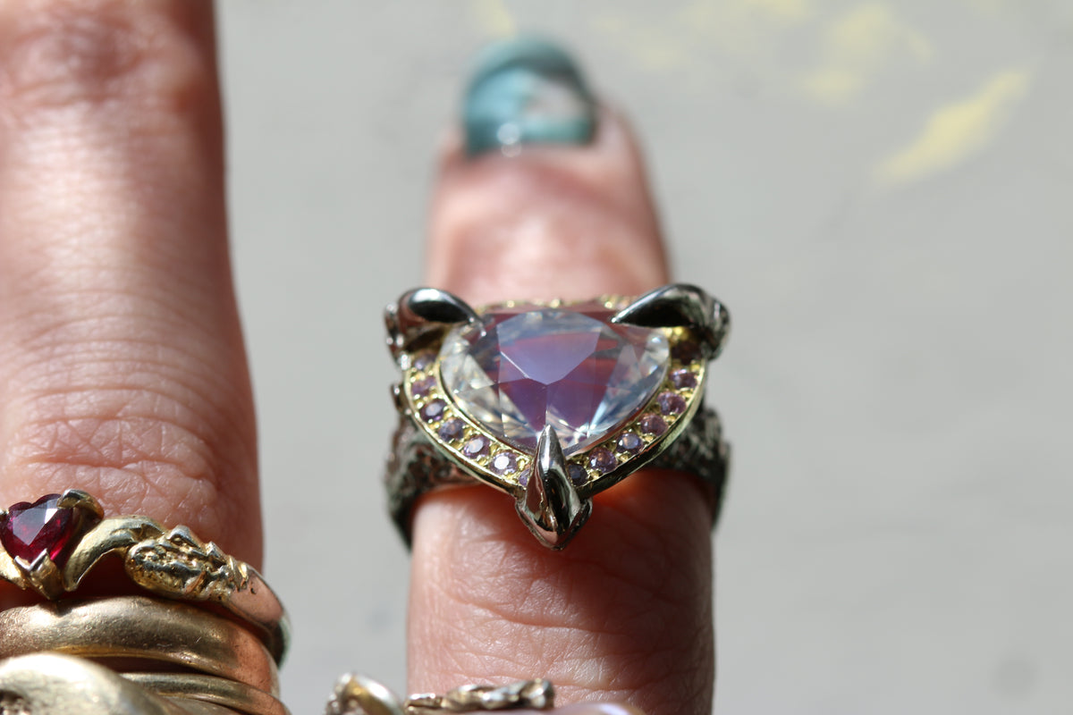Flawless Moonstone and Lilac Sapphire Halo