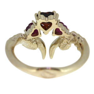 Garnet and Ruby Threesome Gold Ring
