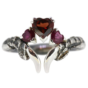 Garnet and Ruby Oxidised Threesome Ring
