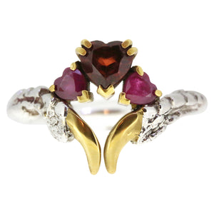 Garnet and Ruby Threesome Ring with Gold Nails