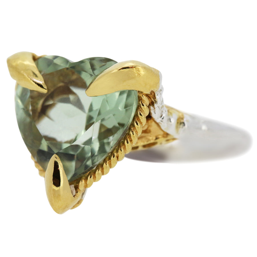 Green Quartz Love Heart Ring