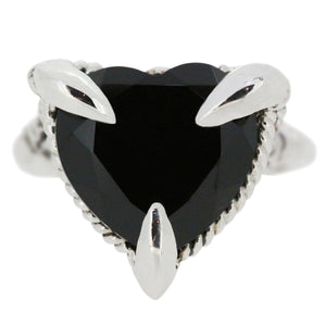 Onyx Love Heart Ring Oxidised
