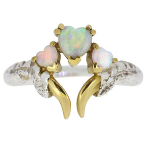Opal Threesome Ring with Gold Nails