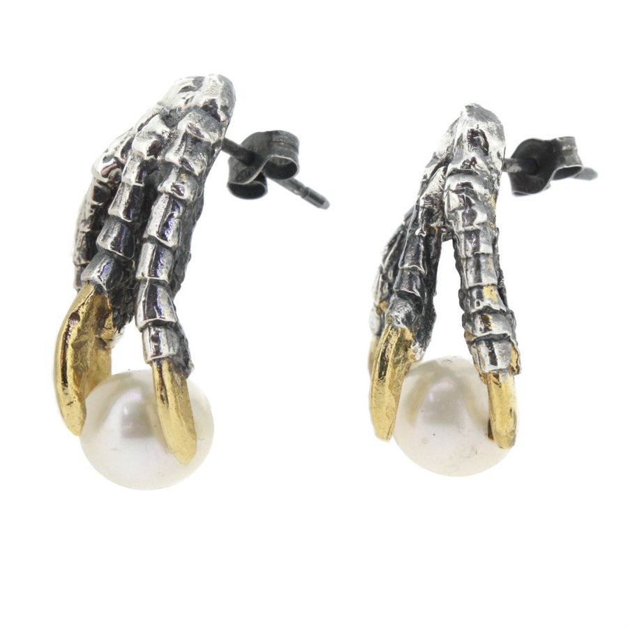 Pearl of London Earrings - Oxidised with Gold Nails